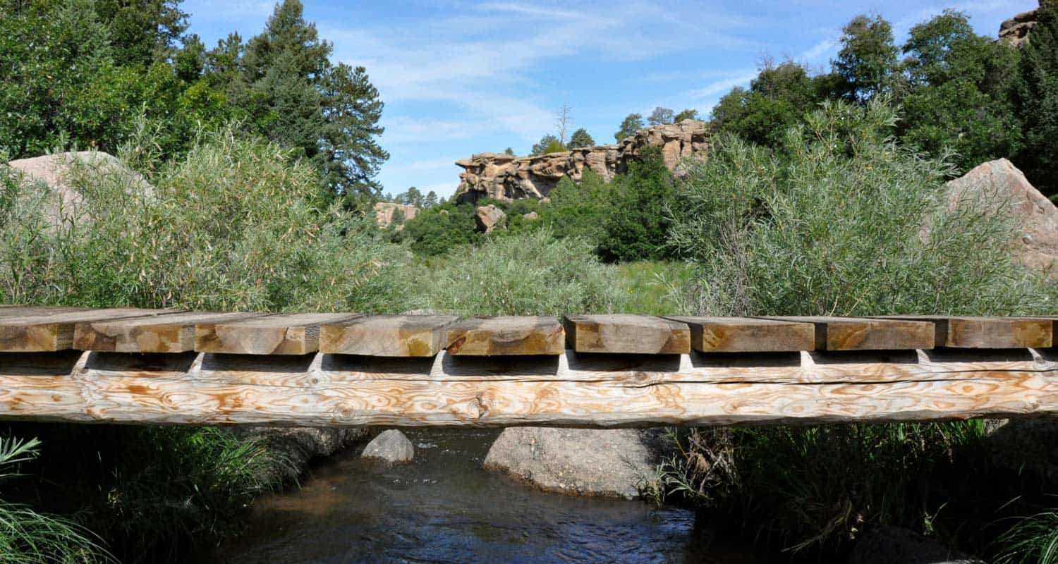 wood bridge over creek in castlewood canyon state park hikes near denver