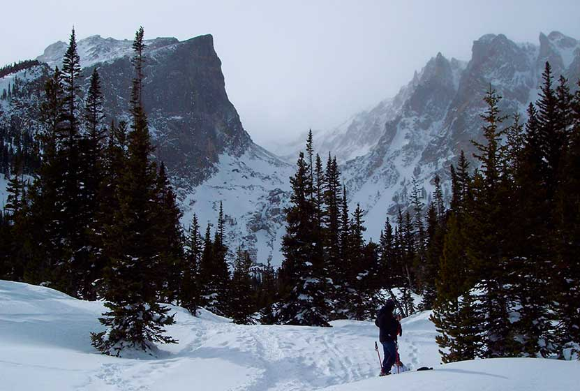 Emerald Lake Hike in winter snows at Rocky Mountain National Park