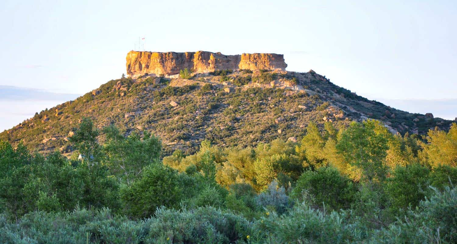 sunset light on castle rock rock formation in castle rock colorado near castle rock trail