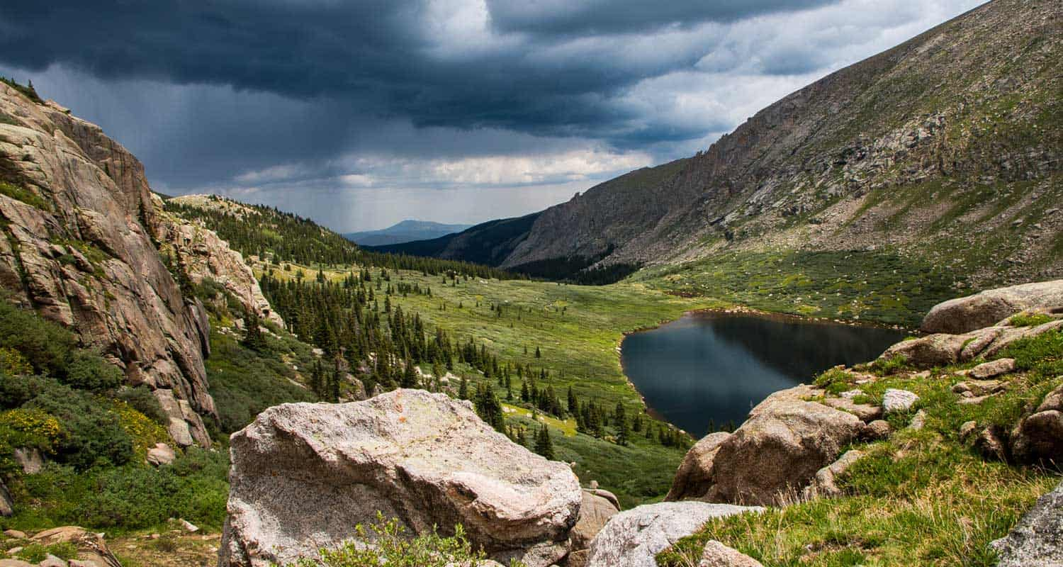 chicago lakes from above with storm brewing near mt evans colorado