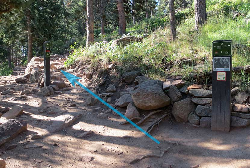 trail marked on photo up to first flatiron chautauqua park in boulder colorado