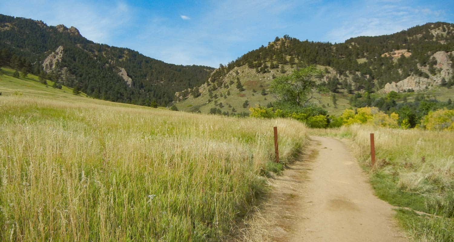 green meadows along trail leading to gregory canyon and green mountain ascent in chautauqua park hike in boulder colorado