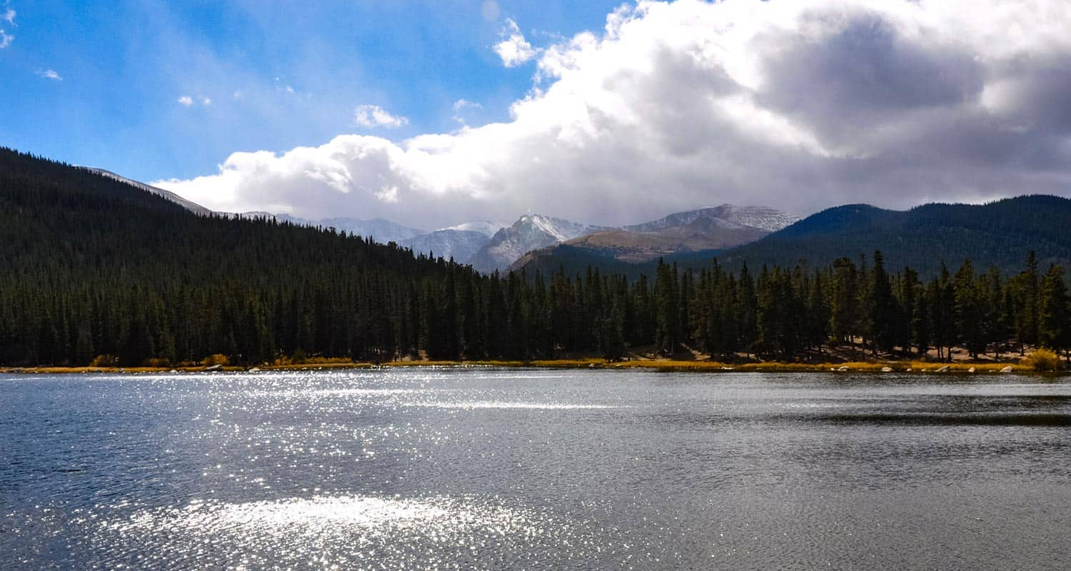 easy hike at echo lake colorado with mount evans in background