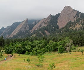 The Flatirons rock formations in Boulder