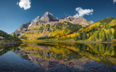 maroon bells reflected in crater lake near Aspen Colorado Maroon Bells Hikes