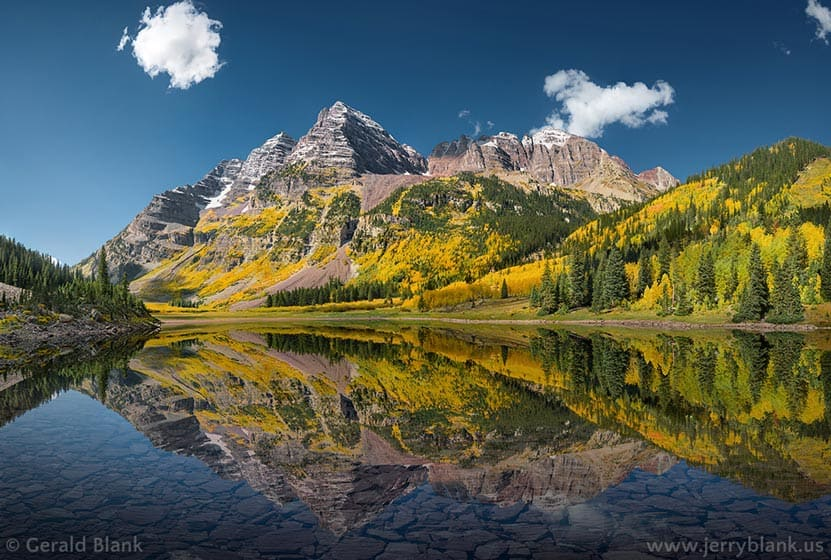 maroon bells mountains in fall reflected in lake colorado jerry blank