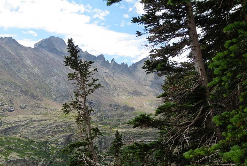 shelf lake rocky mountain national park view into glacier gorge