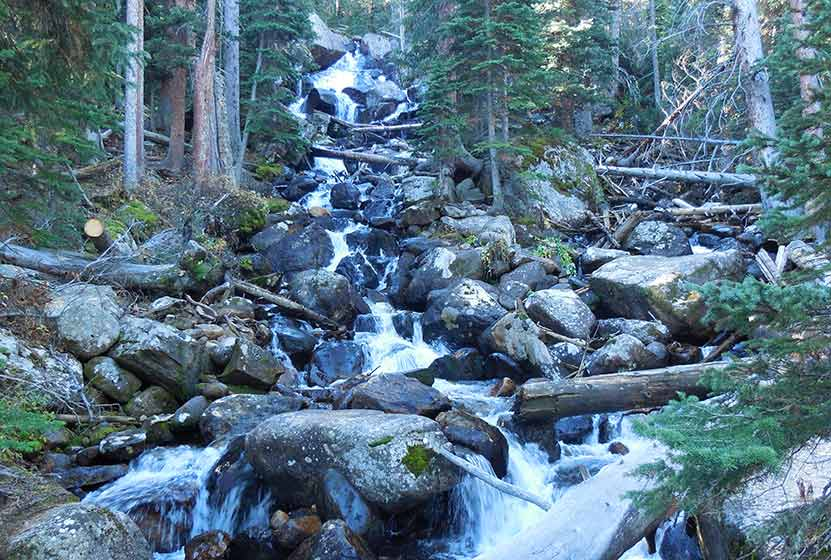 calypso cascades rocky mountain national park from below