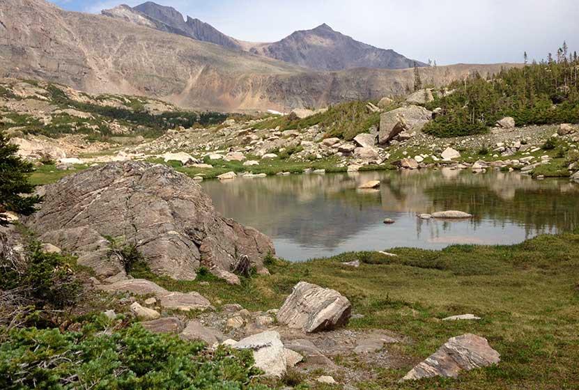 fan falls rocky mountain national park pond