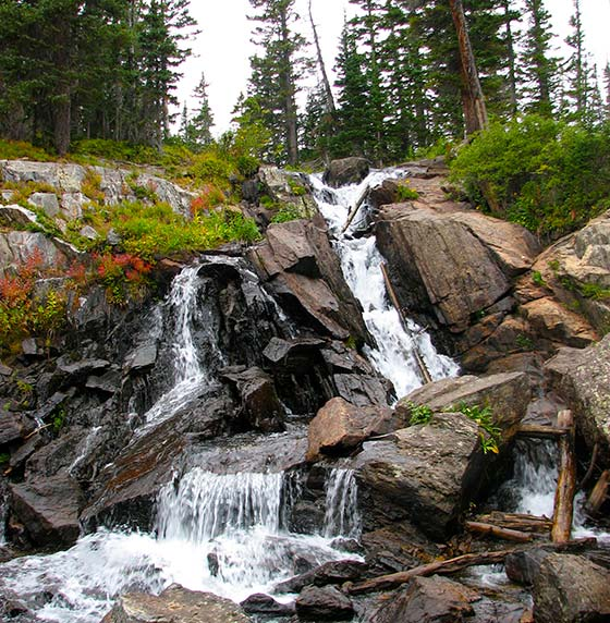diamond lake falls as it spills out of Middle Boulder Creek high in Indian Peaks Wilderness
