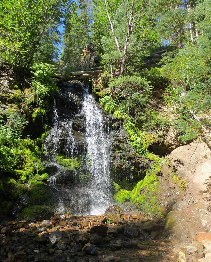 pole creek falls waterfall pouring over rock in wooded area with aspens in Colorado