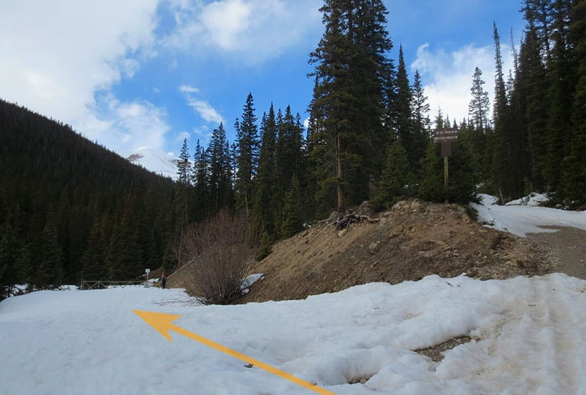 snowy trail split along butler gulch with arrow pointing to butler gulch trail
