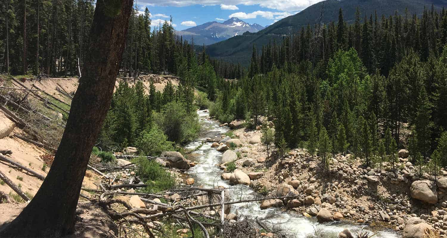 creek flowing over boulders in rocky mountain national park with longs peak in background and tree in foreground on yspsilon trail hike