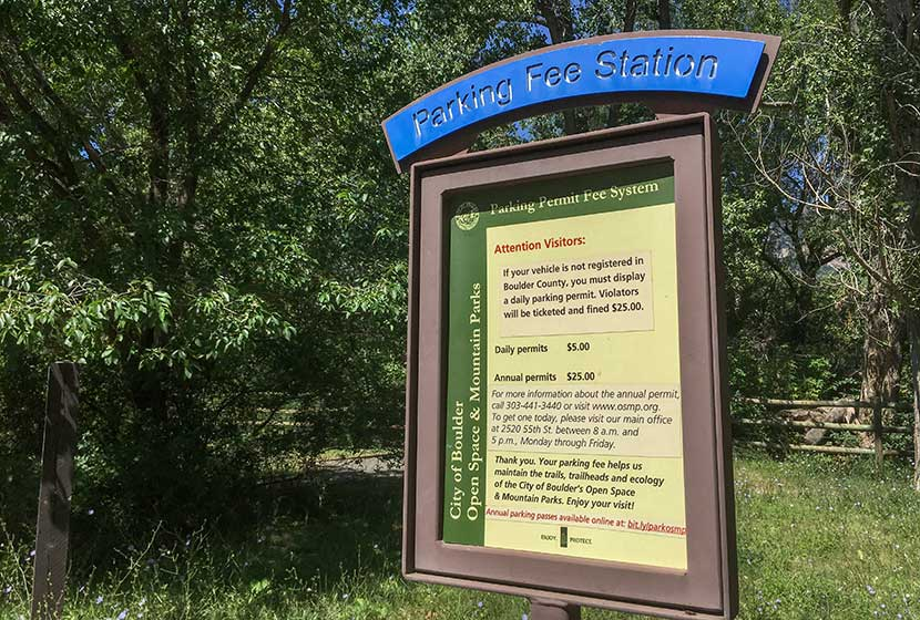 Sign at South Mesa Trailhead South of Boulder Colorado with Parking Fees