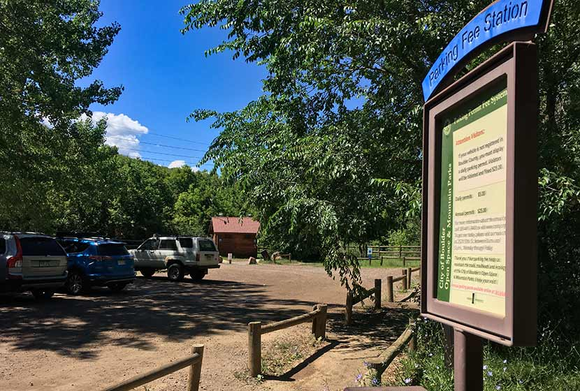 south mesa trailhead with sign near boulder hike for bear peak