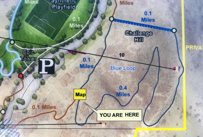 photo of map of the challenge hill loop at castle rock phillip s miller park