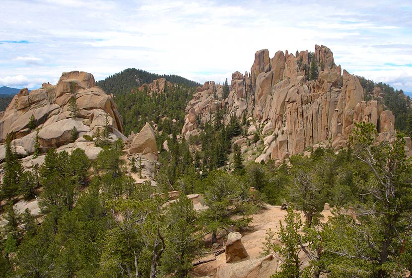 crags rock formations of pink granite on crags trail near colorado springs