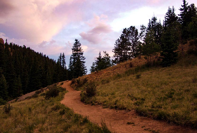 trail at sunset at the crags near colorado springs hike with purple clouds and evergreen trees in background
