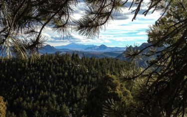view to pikes peak from eagle view outlook at reynolds park near conifer colorado