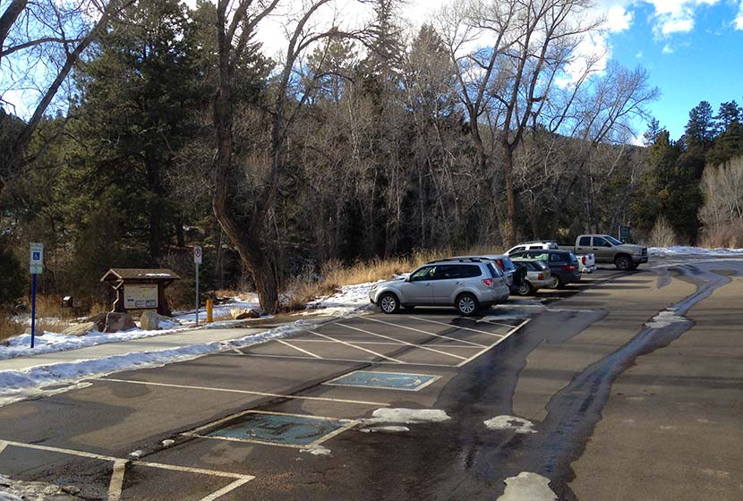 reynolds park trailhead in winter near conifer colorado
