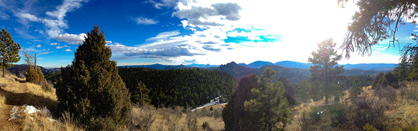 view toward eastern foothills along eagle view loop at eagle view outlook at reynolds park near conifer colorado