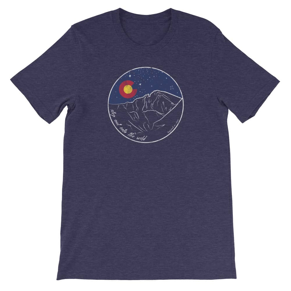 tshirt with longs peak and text step out into the wild
