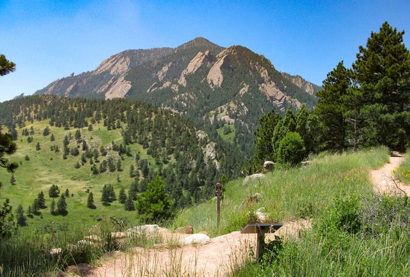 beginning of mesa trail near NCAR looking toward bear peak and bear canyon on way to mallory cave