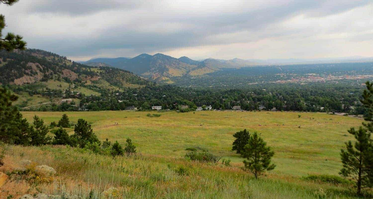 view of the chautauqua meadow at the base of boulder's flatirons
