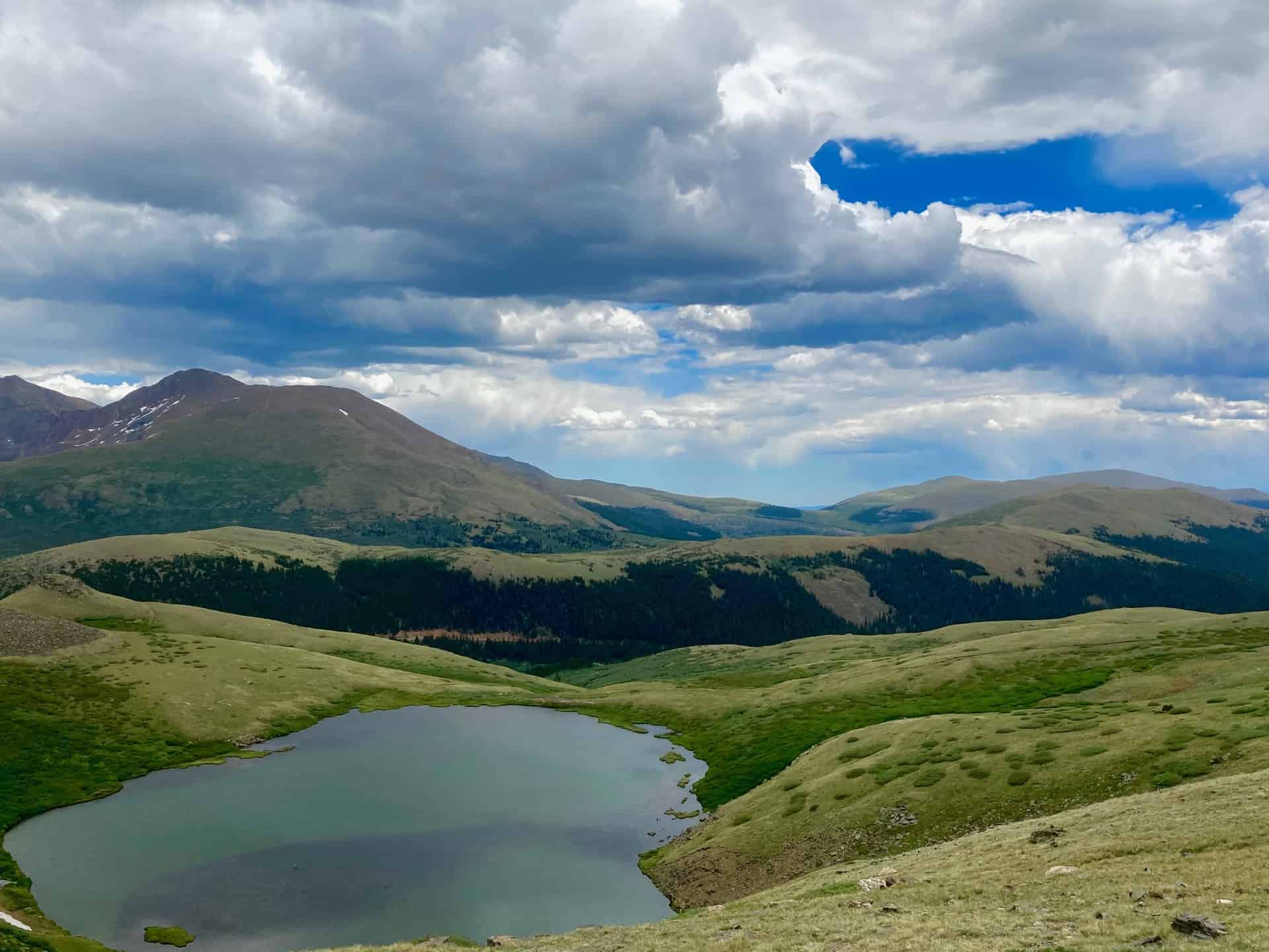 vista of Mount Bierstadt from Square Top Lakes Trail