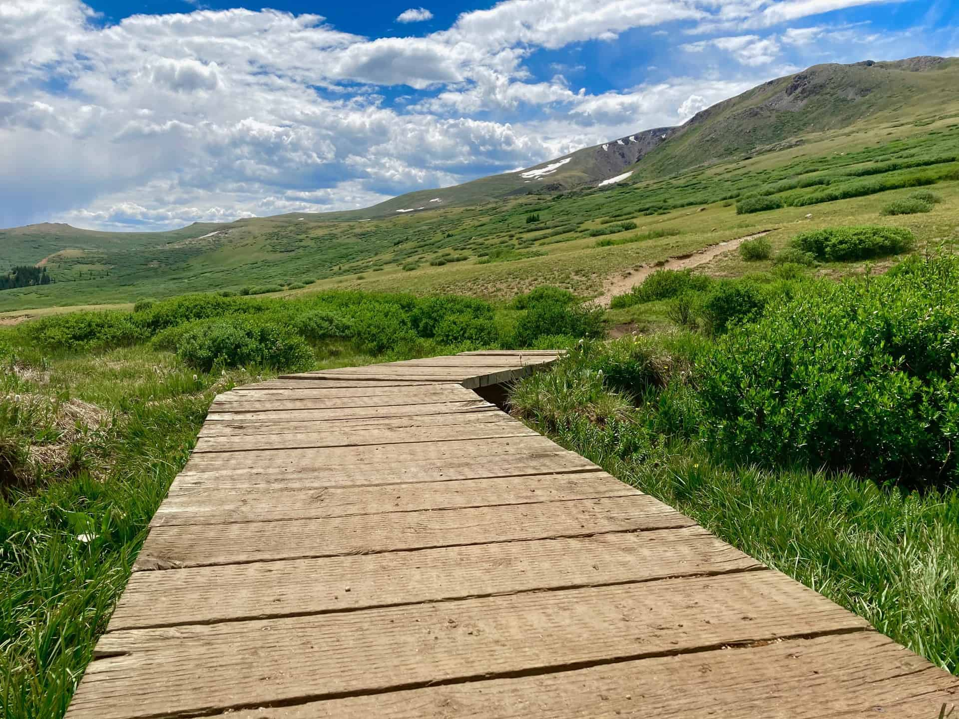 Square Top Lakes trail boardwalk on Guanella Pass
